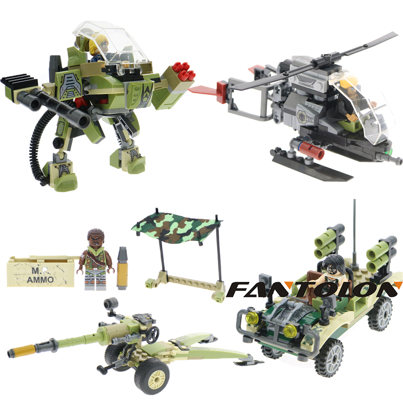 Black Gold Military Swat Army Soldiers Artillery Mech Robot Helicopter Car Chariot Building Block Set Swat Brick Children Toys soldiers set military toys model of helicopter tank soldiers the artillery missile toy for boy