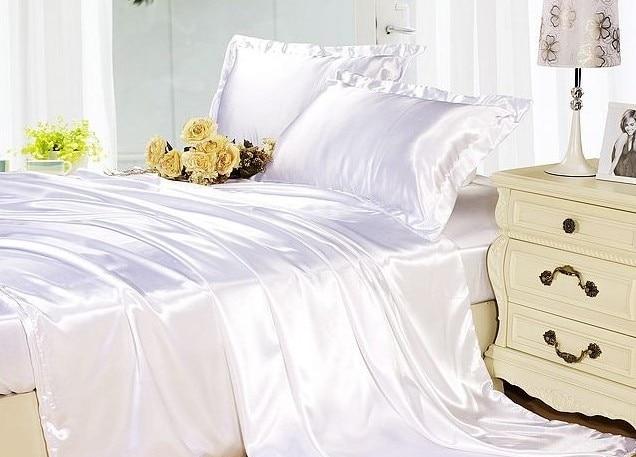 silk sheets bedding set white cream silk satin super king. Black Bedroom Furniture Sets. Home Design Ideas