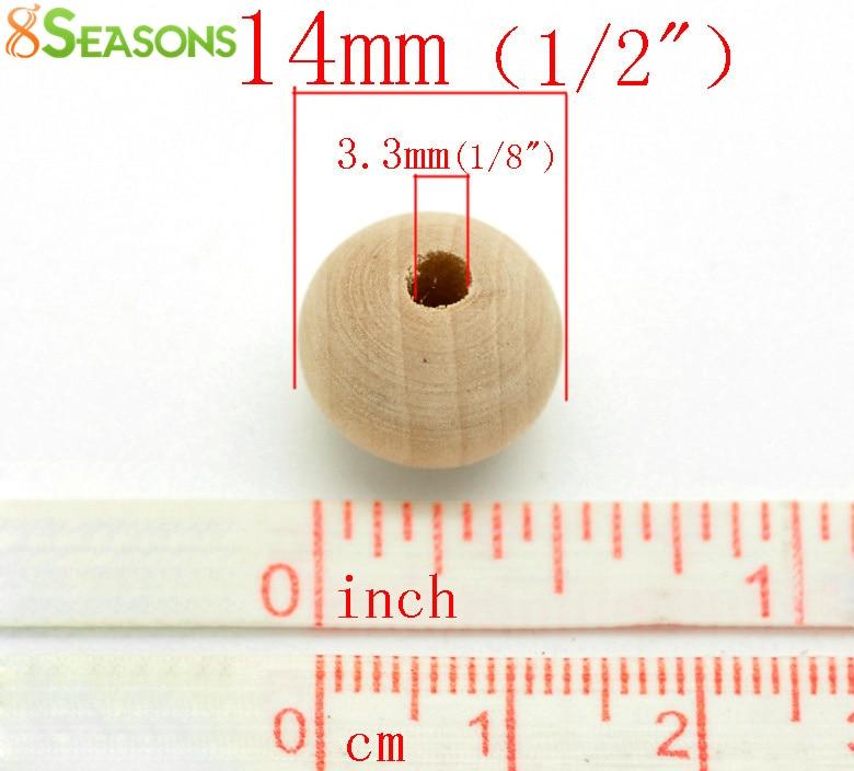 b18802 1/2 x1/2 WunderschöNen 8 Jahreszeiten 100 Stücke Naturholz Kugel Distanzscheibe 14x13mm