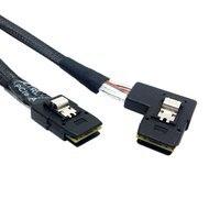 10pcs/lot Cablecc 0.8M Ultra Slim Flat 90 Degree Left Angled Mini SAS 36pin SFF 8087 to 8087 Data Raid Cable