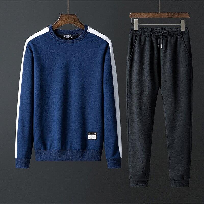 Rlyaeiz Mens Tracksuit 2018 Autumn Two Piece Set Men Sweat Suit Striped Patchwork Hoodies + Pants Male Sporting Suits 4XL