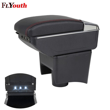 Armrest Box For Volkswagen Polo Vento 2010-2017 USB Charging LED Light Arm Rest Rotatable Centre Console Storage Box