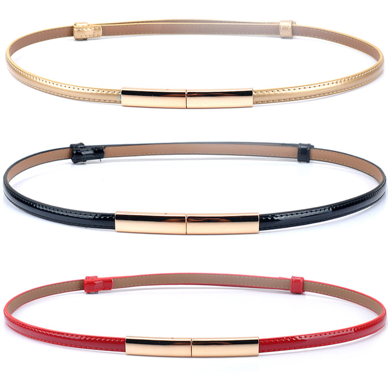 HUOBAO Fashion Newest Design Belts Ladie Luxury Gold Buckle Thin Belt Faux Leather Strap Waistband Adjustable Women in Women 39 s Belts from Apparel Accessories