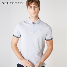 Seçilmiş erkek % 100% pamuk Stand up yaka kısa kollu örgü Poloshirt S