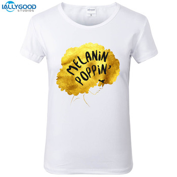 b50c997ad Melanin Poppin' for Women T-Shirt Woman Letter Printed Melanin Poppin T  Shirts O-neck Soft Short Sleeve Casual White Tops S1797