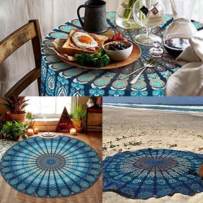Okrągły mata plażowa Boho Vintage na zewnątrz podróży piknik Camping dywan koc