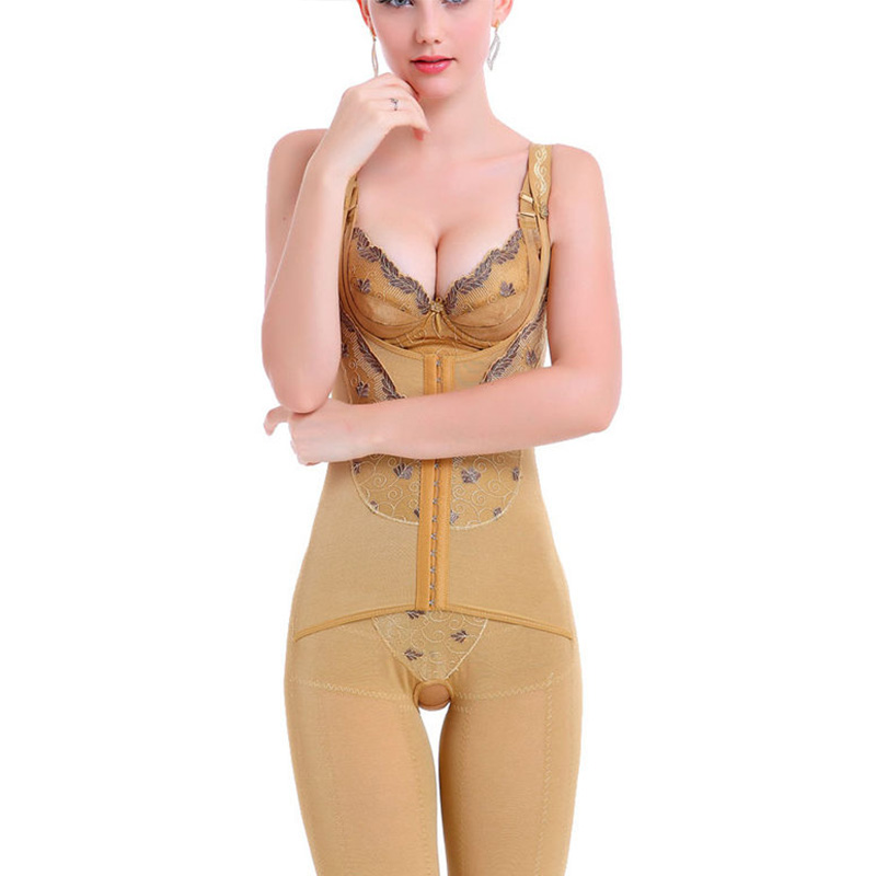 Women Strappy Waist Cincher Corset Shapewear Full Body Open Bust Shaper Bodysuit