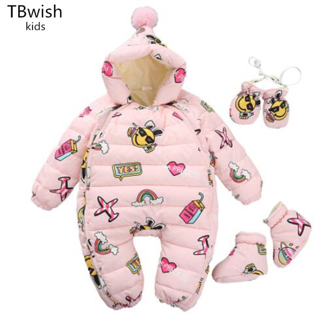6bce548bbe54 TBwish NEW Warm Overalls Winter Children s Baby Duck Down Rompers Infant  Boy Girl Thick Jumpsuit Baby Wear Kid Newborn Clothes