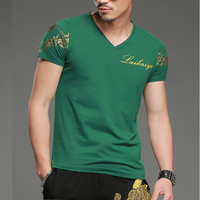 Summer Cotton V Neck Short Sleeve Print Men T Shirt Tops Breathable Slim Fit Male Casual
