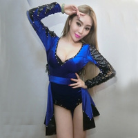 New Female Nightclub Bar Singer Sexy Black Blue Rivet Ds Costume Dj Leader Jazz Stage Dance Clothes Performance Dance Wear