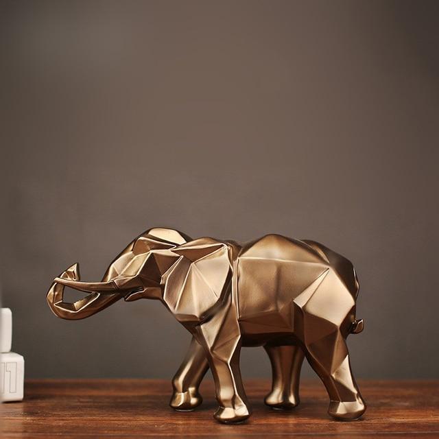 幾何学的抽象黄金象の彫像樹脂動物クラフト家の装飾象の彫刻装飾創造的なギフト
