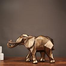 Geometrische abstracte gouden olifant standbeeld hars dier ambachtelijke retro woondecoratie olifant sculptuur decoraties creatieve gift