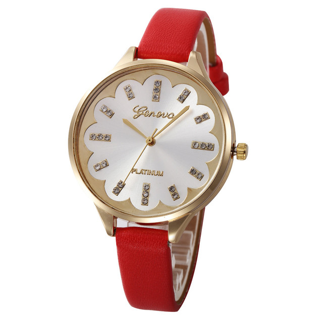Fashion Women Bracelet Watch Saat Geneva Famous brand Ladies Faux Leather Analog
