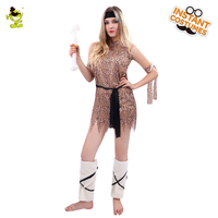 Fashion Sexy Cavewoman Costumes With Leopard Print Adult Women Halloween Carnival Party Ancient Cave Girl Cosplay