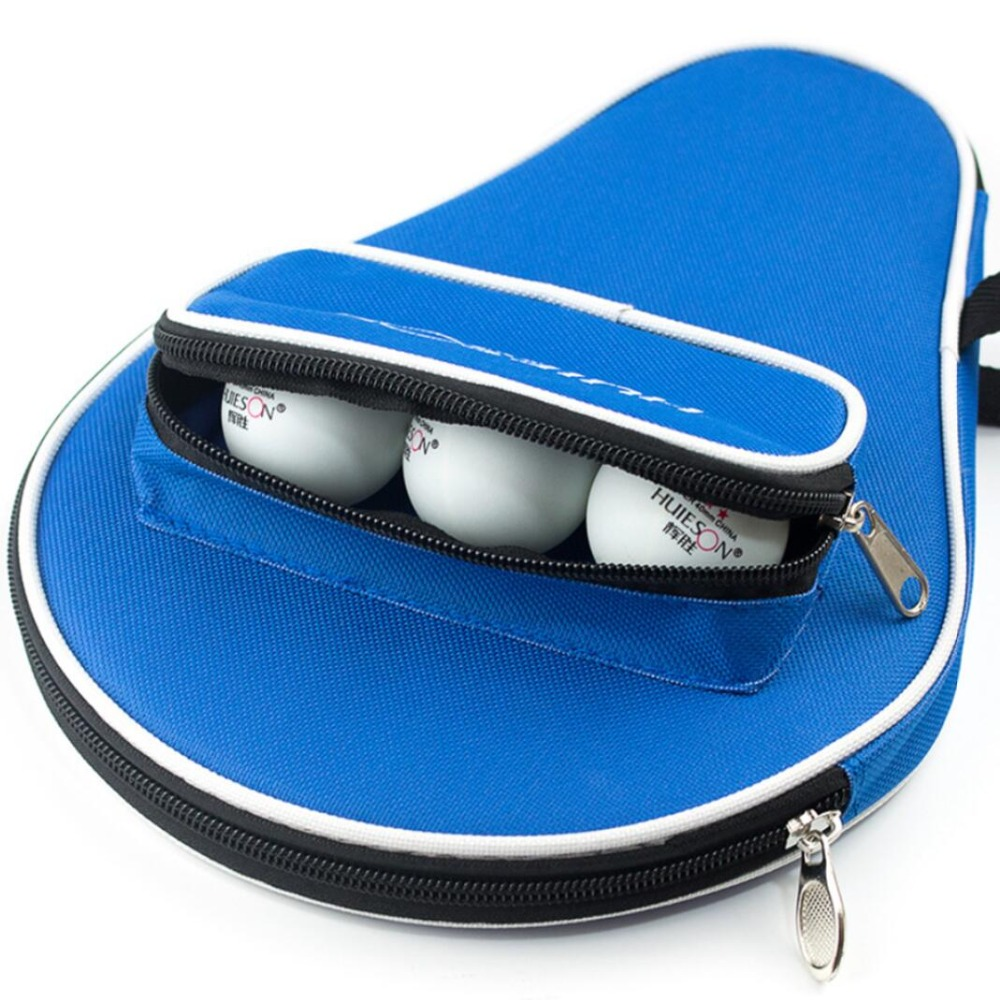 1 PCS Table Tennis Racket Case Ping Pong Paddle Bag Cover with Ball Pouch Backside
