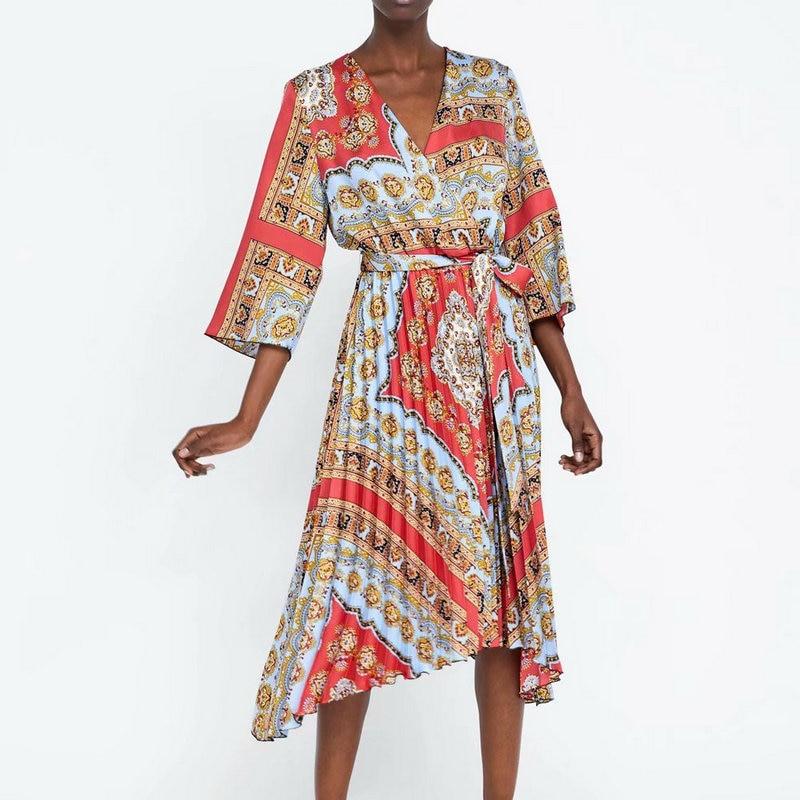 new 2019 women vintage cross v neck totem floral print mermaid dress female retro bow tied sashes vestidos pleats dress vestido