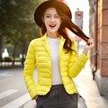 2016 novo ultra-leve para baixo gola da jaqueta uma seção curta de tamanho grande mulheres de Slim fina primavera jaqueta livre grátis
