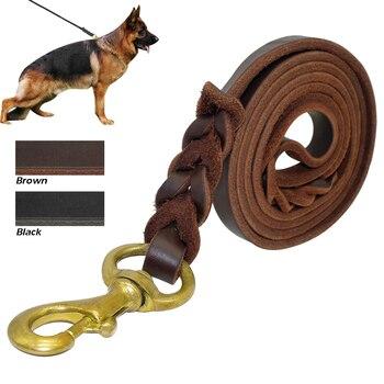 Dikepang Kulit Asli Tali Anjing K9 Berjalan Pelatihan Mengarah untuk Gembala Jerman Golden Retriever 1.6 Cm Lebar untuk Menengah Besar anjing