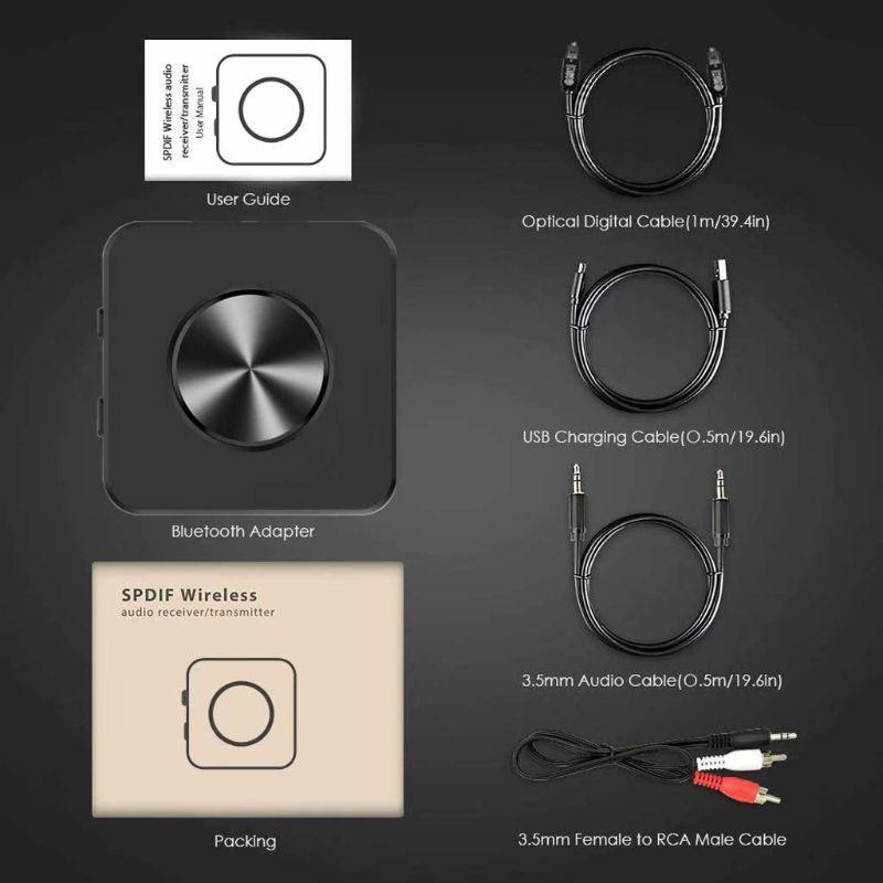 Bluetooth 5.0 émetteur récepteur 2 dans 1 Sans Fil APTX HD Faible Latence A2DP Musique SPDIF Aux RCA 3.5mm Stéréo adaptateur audio