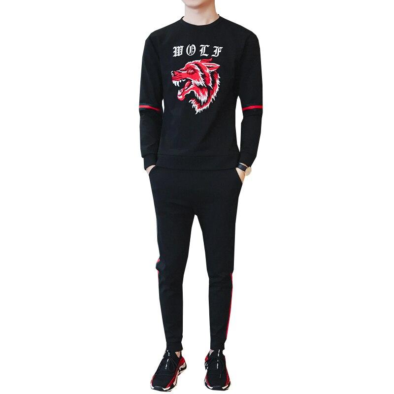 Hommes mode deux pièces ensembles survêtement de sport mâle 2018 sweat + pantalon costumes hommes grande taille 5XL animal photo ensemble sweatshirts