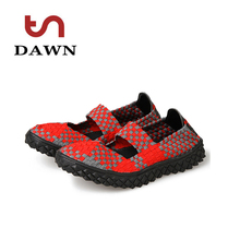9 colors handmade casual shoes weave elastic flats breathable lazy shoes large size summer gym climb shoes tenis feminino