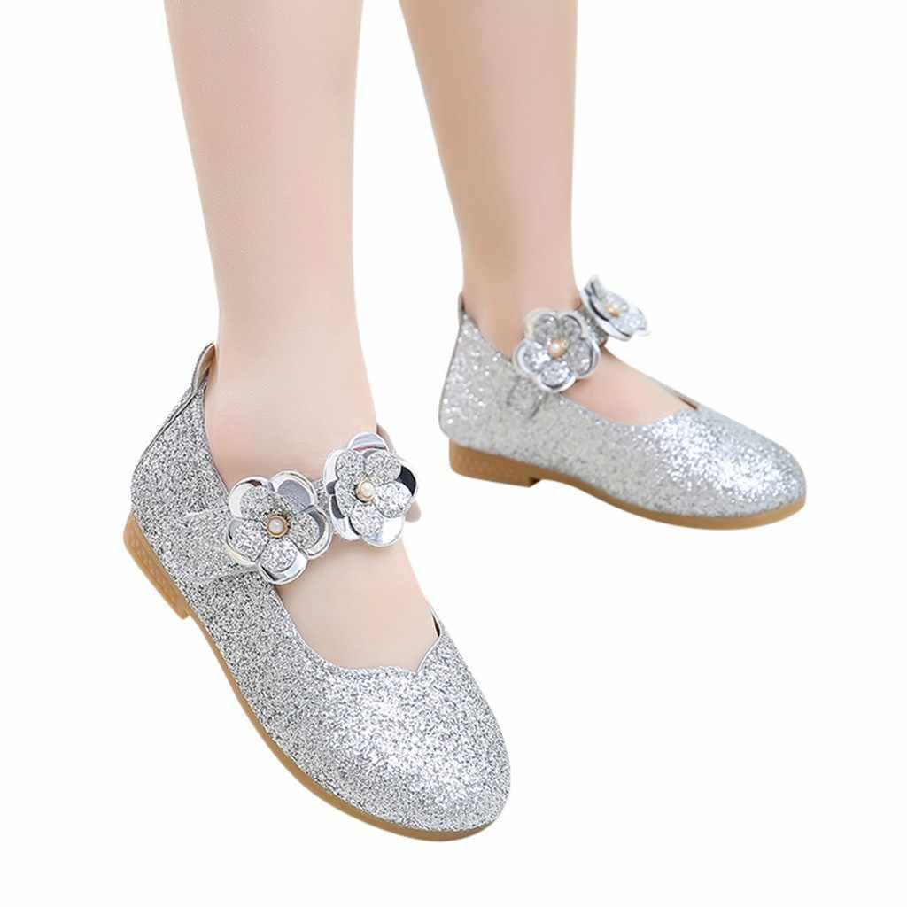 รองเท้าหนังเด็กรองเท้าเด็กวัยหัดเดินเด็กทารกเด็กทารกดอกไม้ Bling Sequins เจ้าหญิงเดี่ยวรองเท้า sepatu anak sequin4.4