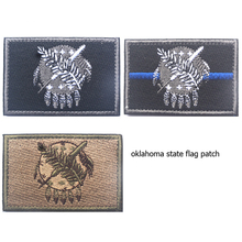 US Oklahoma State Flag Embroidery Patch USA American Military Morale Patches Tactical Emblem Applique Embroidered Badges