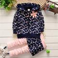2015 new style children clothing long sleeve hoodies and skirt pants children sets Girls suit cotton zipper Floral baby sets