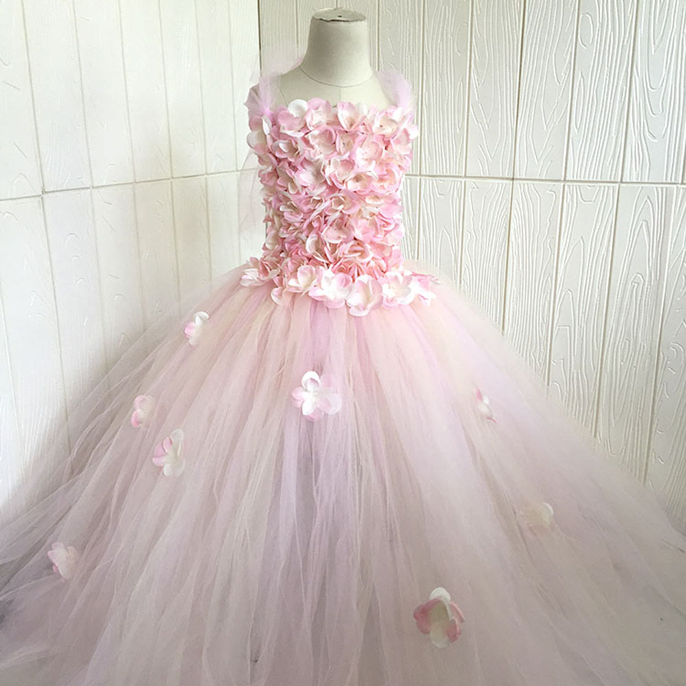 Pink Champagne Hydrangea Flower Girl Dress Elastic Handmade Children Wedding Birthday Party Tulle Tutu Dresses Fairy ClothesPink Champagne Hydrangea Flower Girl Dress Elastic Handmade Children Wedding Birthday Party Tulle Tutu Dresses Fairy Clothes
