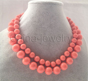 "CSR356    FREE shipping> >>> Beautiful 17-18"" 2row 10-14mm pink coral color south sea shell pearl necklace"