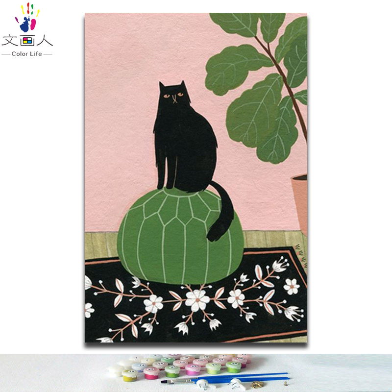 diy paints by numbers with kits black cat 40x50 framed modern Simple artwork pictures coloring by numbers for wall decoration