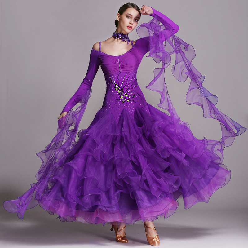Ballroom Dance Dresses For Women Cake Skirt Stage Cosyumes Standard Professional Modern Tango Swing Dancing Costumes BL07