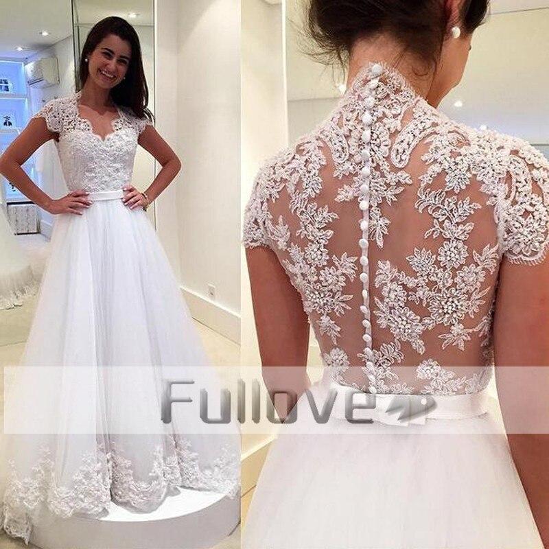 Boutique dentelle Appliques princesse robes De mariée longue 2019 à manches courtes voir à travers une ligne robes De mariée Vestido De Noiva Renda
