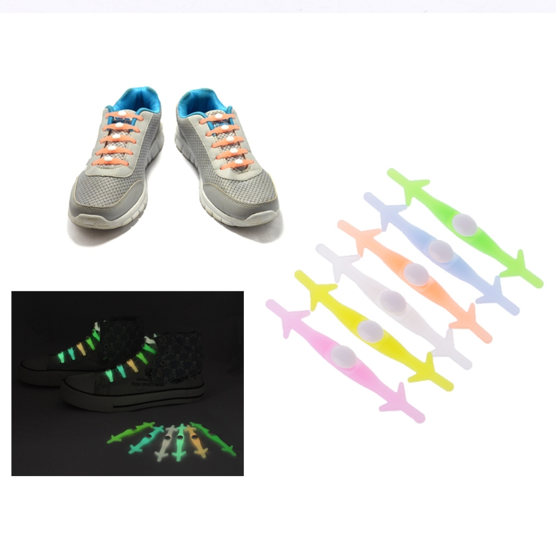 EYKOSI Silicone Shoe Laces Women Men Elastic Luminous Running No Tie Sneakers Shoelaces eykosi women shoe trees boot shoe stand holder with plastic lengthen creative domestic candy color solid