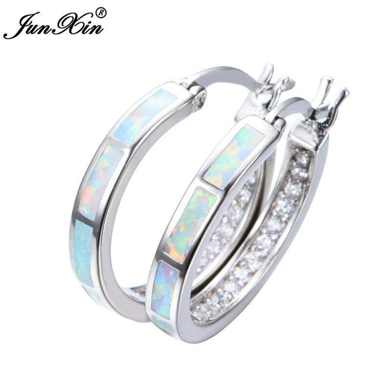 Detail Feedback Questions about JUNXIN White Blue Fire Opal Hoop Earrings  Women Fashion 925 Sterling Silver Filled Circle Earrings Party Jewelry  Accessories ... e4aa636b2197