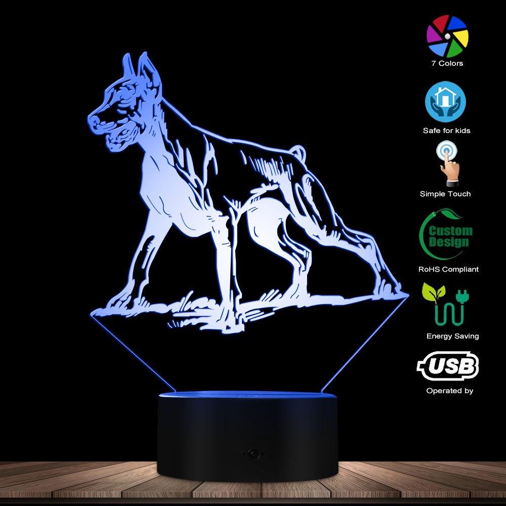 Doberman Pinscher 3D Optical Illusion Light Children Room Night Light Custom Creative Dog Art Colorful Pets Shop Table Lamp Gift