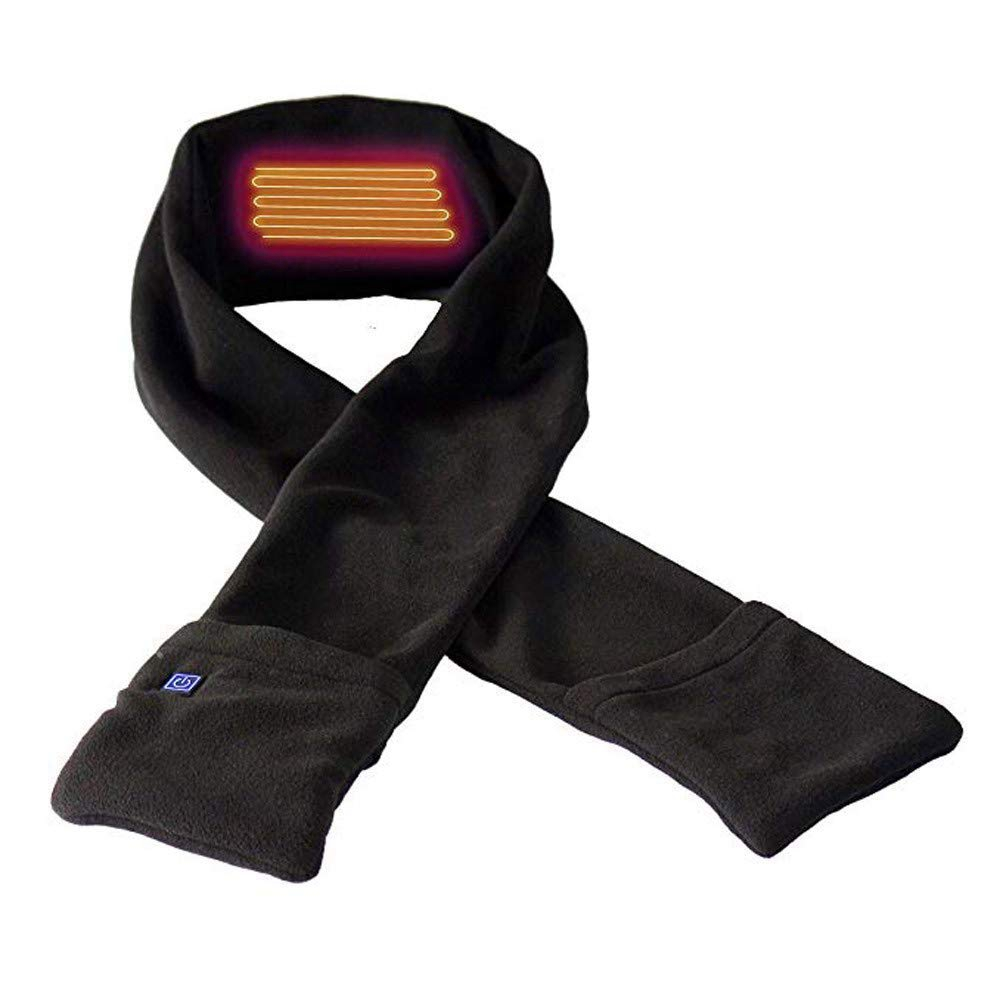 Usb теплый шарф, мягкая теплая шаль с карманами, унисекс, зимняя теплая накидка для шеи, для улицы, для подледной рыбалки, альпинизма, пешего туризма, велоспорта