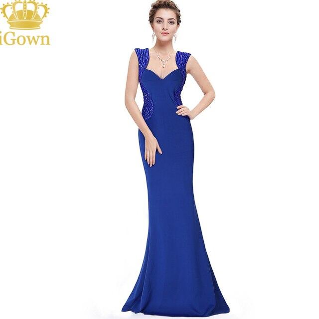 d5d24072c7092c IGown Merk Mermaid Avondjurk Goedkoopste Geschulpte Lange Blauwe Avondjurk  Plus Size Rits Back Vloer Party Prom