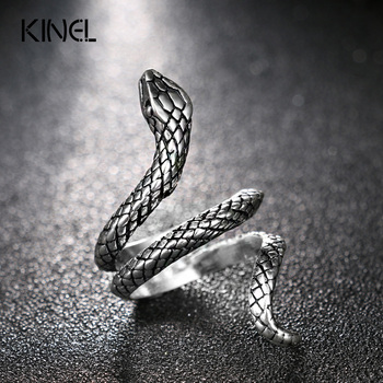 Wholesale Fashion Snake Rings For Women Color Silver Heavy Metals Punk Rock Ring Vintage Animal Jewelry 2