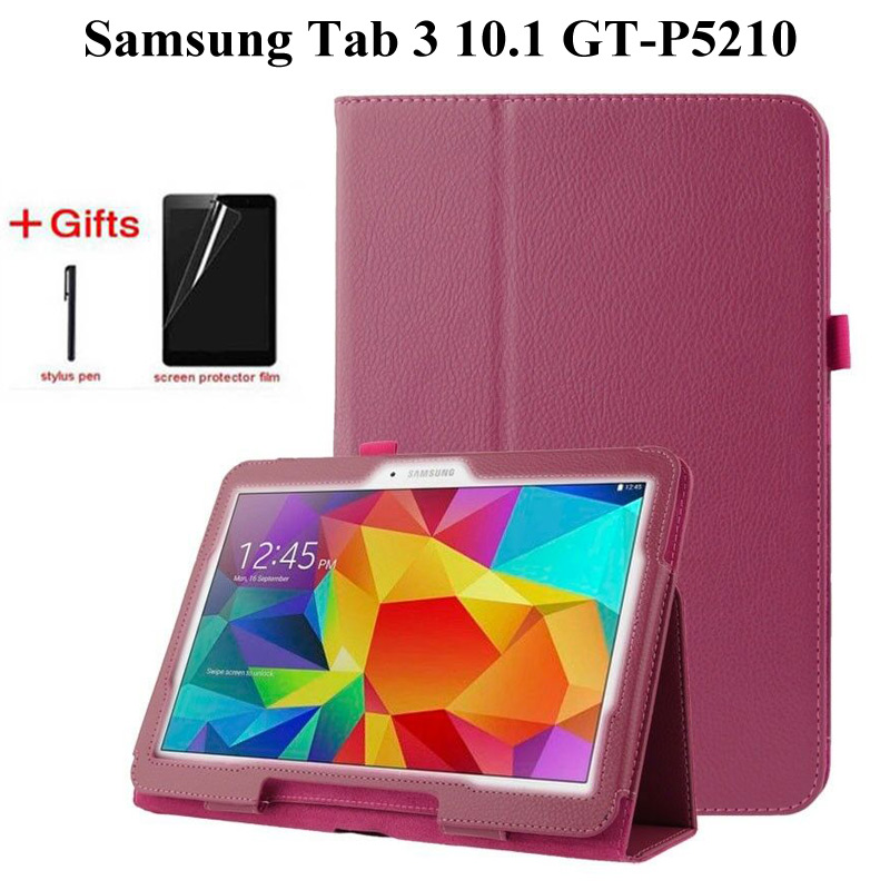 Flip Protective Matte Litchi PU Leather <font><b>Case</b></font> For Samsung Galaxy Tab 3 10.1 inch P5200 <font><b>P5210</b></font> P5220 GT-P5200 Tablet <font><b>case</b></font>+Film+Pen image