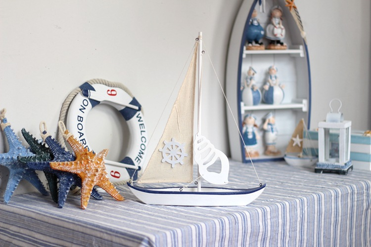 Wooden sailing for home furnishing decor wooden boat for for Ship decor home