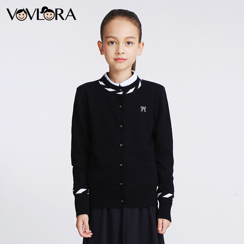 Girls Knitted Sweaters Kids Cotton Long sleeve O neck Bow School uniform clothes Autumn winter baby