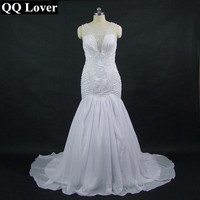 QQ Lover 2018 New Full Beading Mermaid Wedding Dress Custom Made Plus Size Wedding Gown