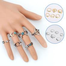 6PCS/Set Turkish Moon Bohemia Vintage Punk Rings Unique Carving Tibetan Ring Set   CX17