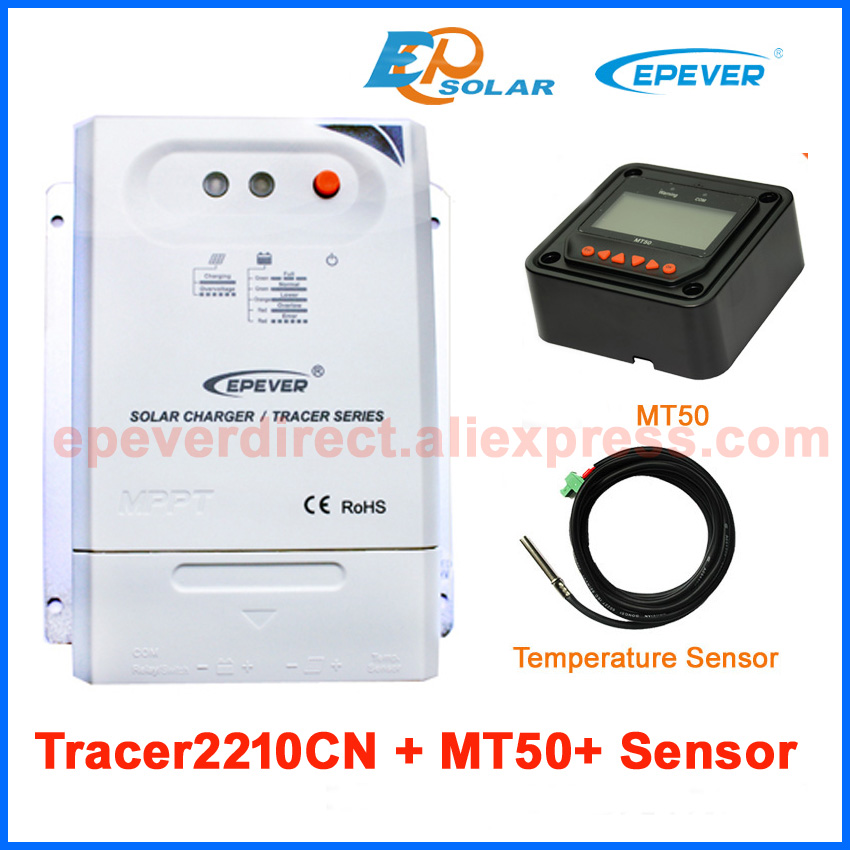 MPPT EPEVER 12v 24v auto work solar panel regulator Tracer2210CN with temperature sensor and black MT50 remote meter 20A two color choices mt50 with usb and sensor solar regulator 20a mppt tracer2210a for 12v 24v auto work
