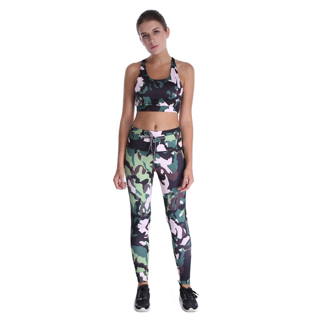 16911733ab681 New 2107 Women Sporting Tracksuit Camouflage Lace Up Leggings Crop Top Two  Piece Set Sexy Slimming Push Up Pants Suits Women