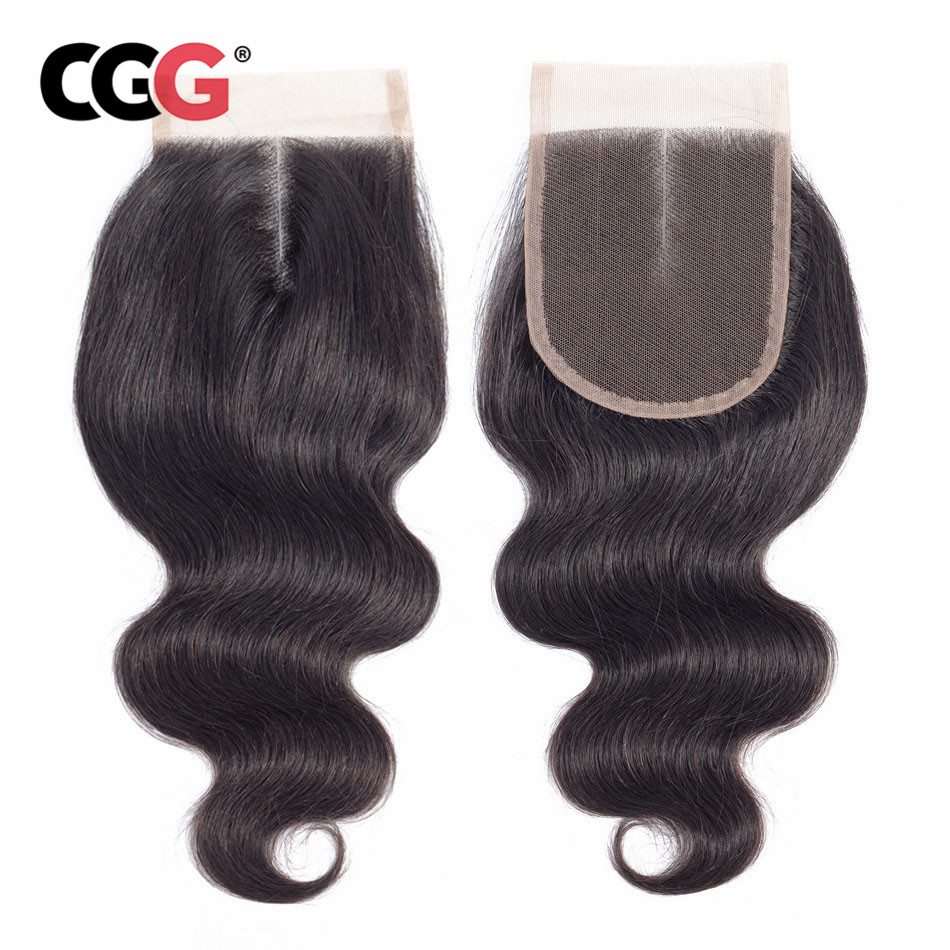 CGG Closure Hair with Baby Non-Remy 8-20 Lace Body-Wave Swiss Natural-Color 4--4 Peruvian