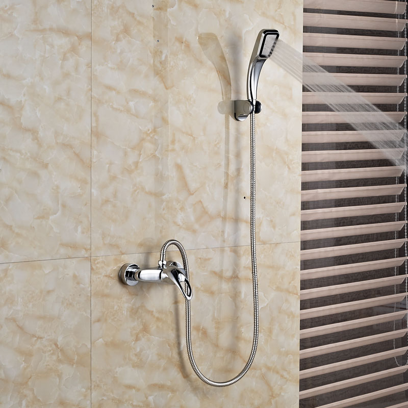 Singe Handle Dual Hole Hot Cold Shower Faucet Wall Mount Chrome Brass Hand Held Shower Mixer