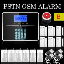 DHL Free Shipping English Russian Voice Wireless PSTN GSM Alarm System Home Burglar Security Touch Keyboard
