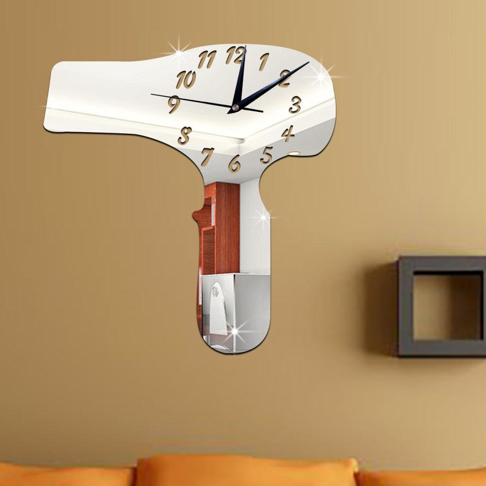 Design house hair - My House 35x33cm Hair Dryer Mirror Silver Wall Clock Modern Design Home Decor Watch Wall Sticker
